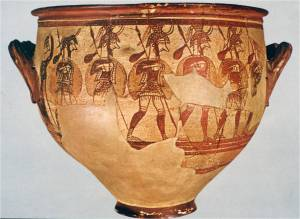 Mycenaean Warrior Vase (source: National Archaeological Museum, Athens)