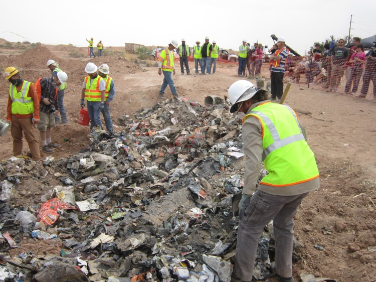 Archaeologist Bill Caraher sorts through the excavated Atari games at Alamogordo's old landfill (photo: Andrew Reinhard).
