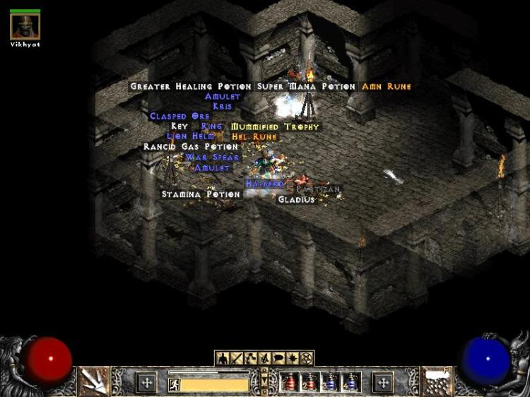 Loot in Diablo II (image: The Classic Gamer)