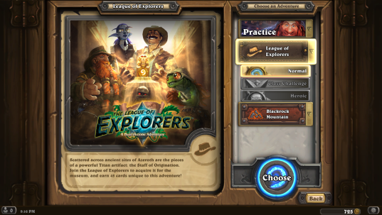 Hearthstone: League of Explorers Welcome Screen