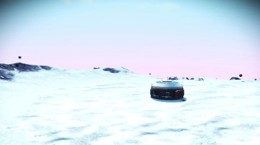 Generic Base Unit seen on first arrival with comm stations to the left and right. The one on the left is a Galactic Heritage marker.